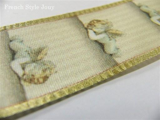 画像1: 「即納J」リボン2.5cm天使(ゴールド・サテン) /6g (1)