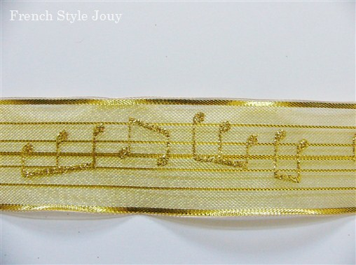 画像1: 「即納J」リボン4cm音符(ゴールド) /8g (1)