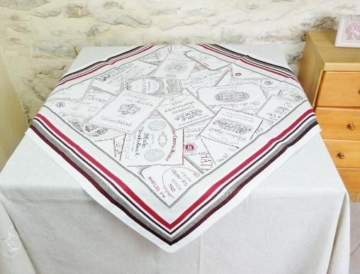 画像1: 「J即納」テーブルセンター70x70cm:ボルドー(ジャカード) Bordeaux /310g (1)