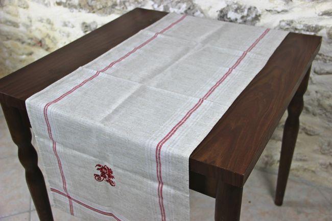 画像1: 「即納J/F」テーブルセンター:麻地アルファベット刺繍145x45cm /180g (1)
