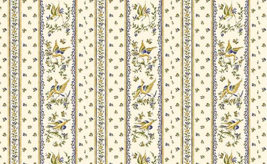 画像1: 「取寄せ」布:ムスティエ(プロヴァンス、鳥、ブルー) /320g (1)