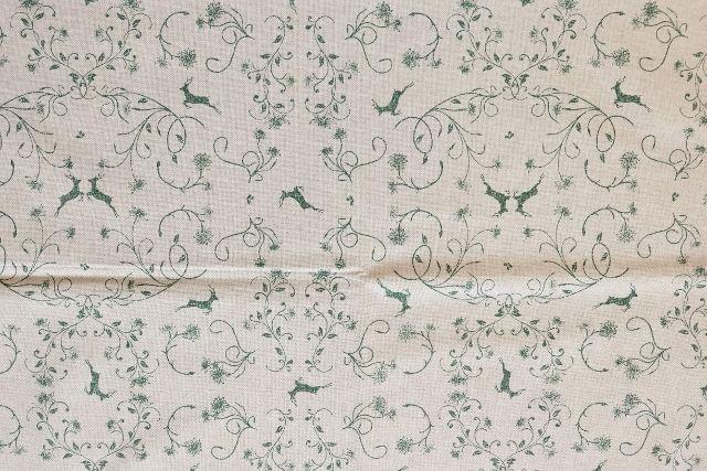 画像1: 「F在庫」はぎれ70×50:レンヌ・オーヌモン(麻色ベースグリーン)/80g (1)