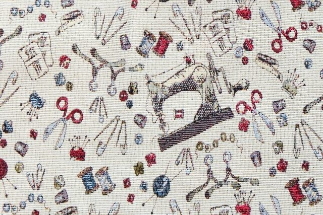 画像1: 「F在庫」はぎれ70x50:ゴブラン織り ミシン&メルスリー(ナチュラルベース)/155g (1)