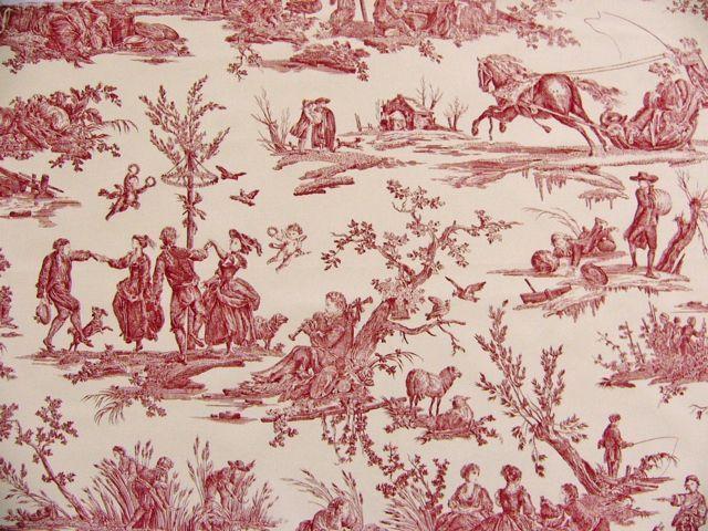画像1: 「取寄せ」布:復刻版tdj四季の喜び(トワル、白ベース赤)長さ50cm単位 /160g (1)