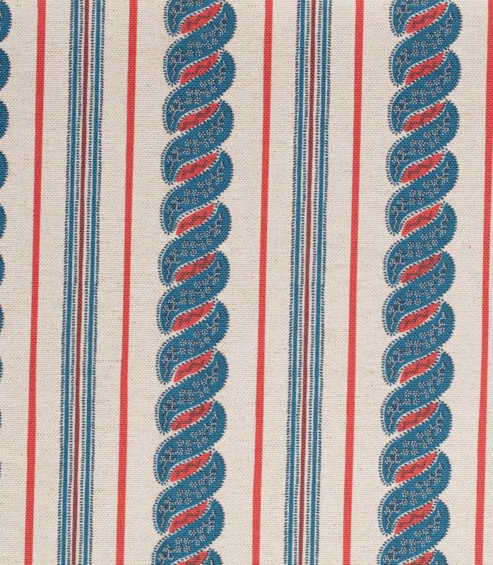 画像1: 「取寄せ」布:メネルベス(ストライプ、生成りベースプロヴァンスブルー)/450g (1)