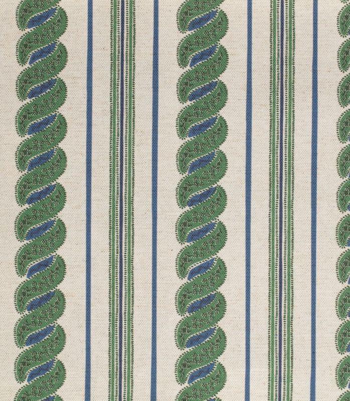画像1: 「取寄せ」布:メネルベス(ストライプ、生成りベースタイムグリーン)/450g (1)