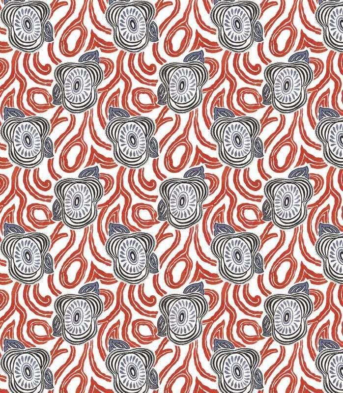 画像1: 「取寄せ」布:撥水加工モーニング・グローリー(ホワイトベース赤・ブルー)/450g (1)