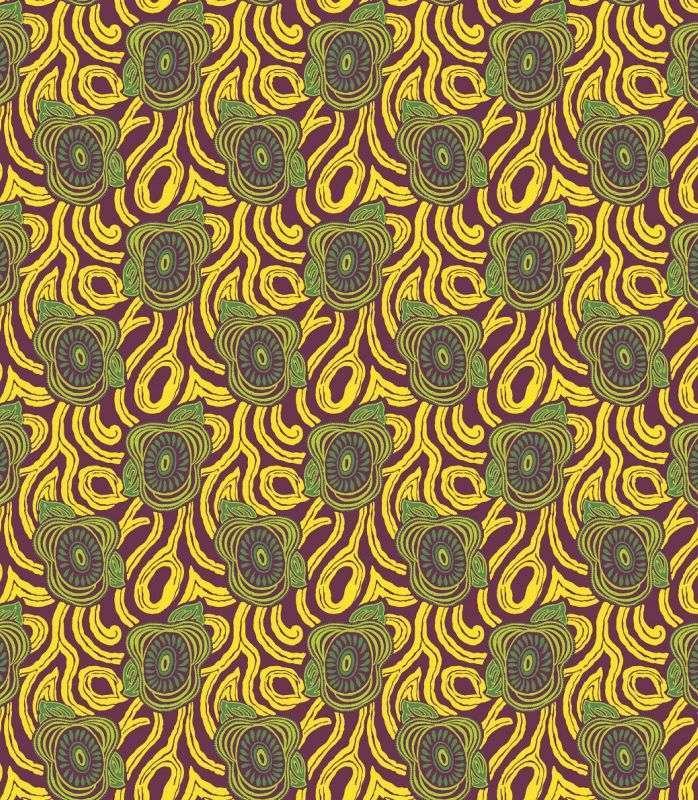 画像1: 「取寄せ」布:撥水加工モーニング・グローリー(プラムベースイエロー・グリーン)/450g (1)
