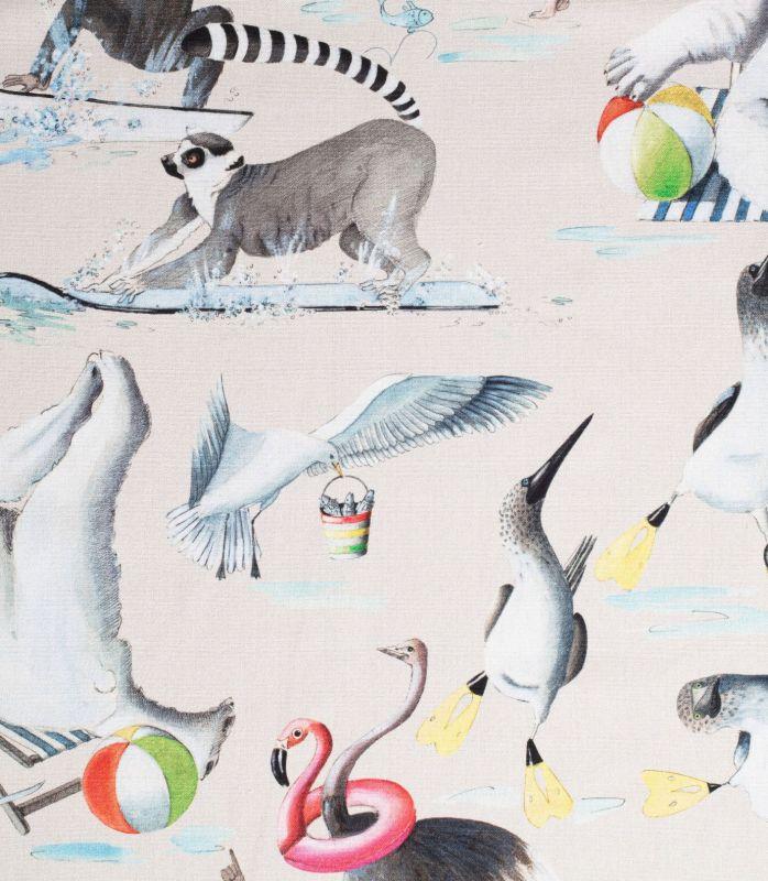 画像1: 「取寄せ」布:動物の水遊び(グレージュベース)/410g (1)
