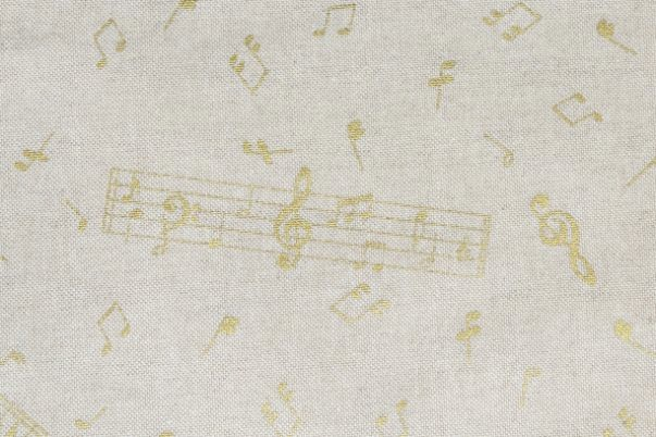 画像1: 「J即納」はぎれ70x50:金色のミュージック・ノート(ベージュベースゴールド)/90g (1)