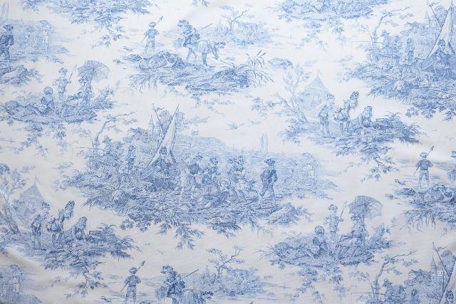 画像1: 「即納F」布:水の物語(白ベースブルー)140×200cm /760g (1)