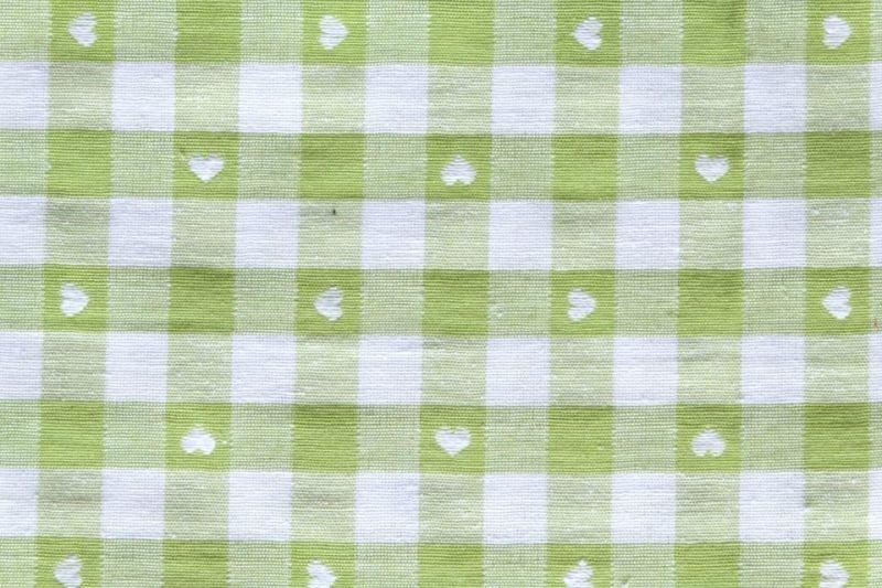 画像1: 「即納J」はぎれ70×50:ヴィシーチェック・ハート(アニスグリーン)/105g (1)