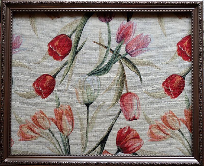 画像1: 「F在庫」はぎれ70×50:ゴブラン織り チューリップ(デザイン大・クリームベース) (1)