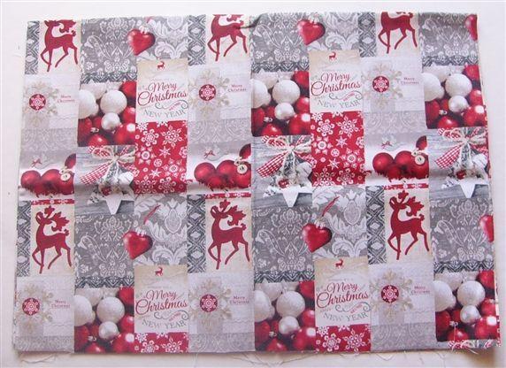 画像1: 「即納J」はぎれ70x50:クリスマス・ニューイヤー(グレイ・赤)/85g (1)