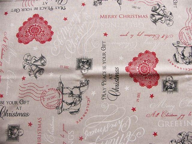 画像1: 「即納J」はぎれ70x50:ピースフォークリスマス(ベージュベース、赤)/85g (1)