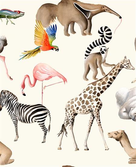 画像1: 「取寄せ」布:動物園にて(クリームベース) / 425g (1)