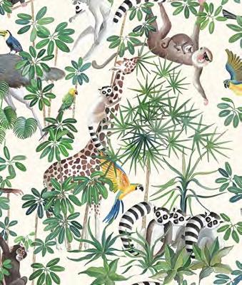 画像1: 「取寄せ」布:ジャングル(クリームベース) (1)