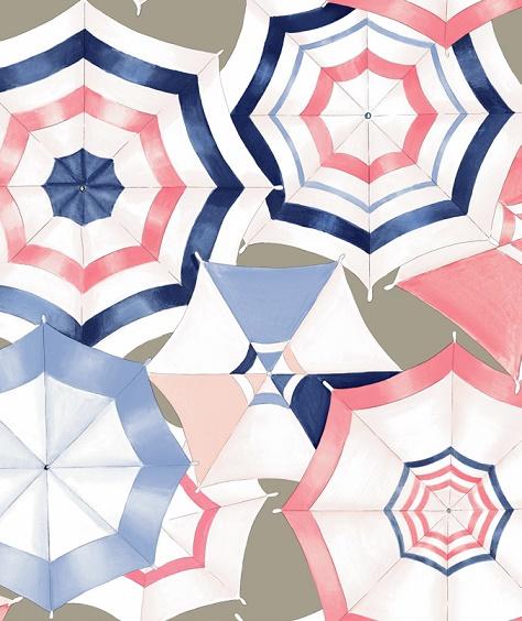 画像1: 「即納F」はぎれ70×50:雨に唄えば(麻色ベースブルー・ピンク)/90g (1)