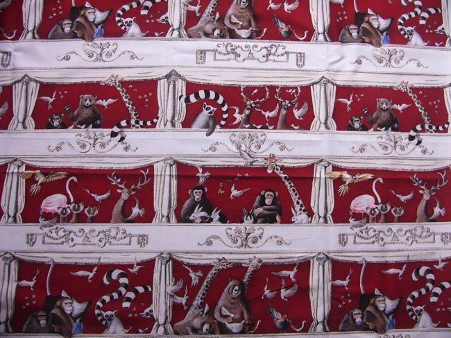 画像1: 「即納J/F」はぎれ70×50:テアトルにて(動物デザイン、赤)/110g (1)