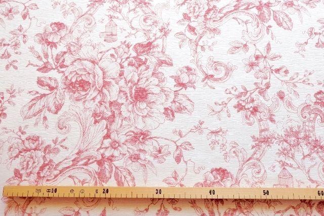 画像1: 「即納F」はぎれ70x50:ビバリー・ロイラ(赤、ジャカード、花・鳥かご) /135g (1)