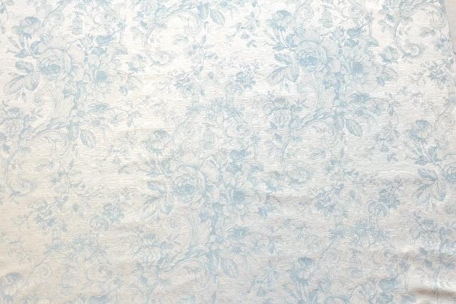 画像1: 「取寄せ」布:ビバリー・ロイラ(ブルー、ジャカード、花・鳥かご)/540g (1)