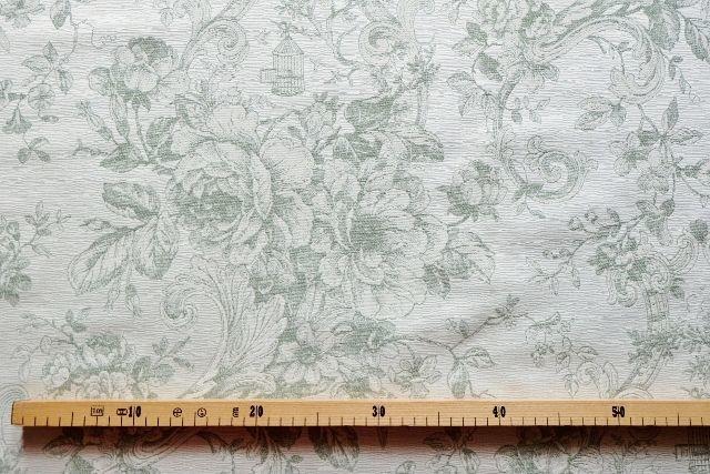 画像1: 「即納J」はぎれ70x50:ビバリー・ロイラ(グリーン、ジャカード、花・鳥かご) /135g (1)