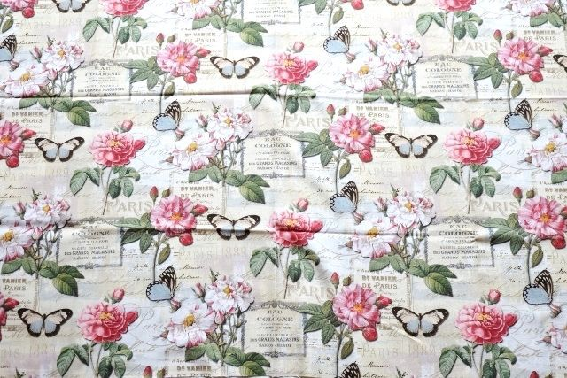 画像1: 「即納J」はぎれ70x50:オー・ド・コロン(ホワイトベース、蝶、花) /90g (1)
